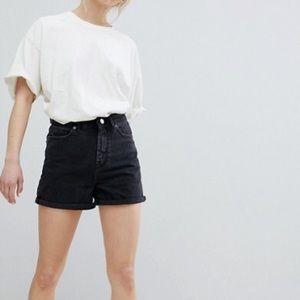 ASOS Mom Jean Shorts Washed Black UK 8